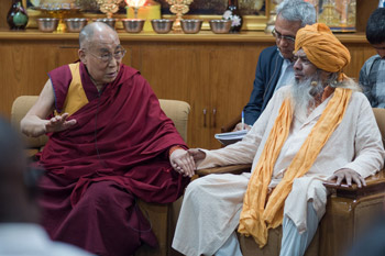 Dewan Syed Zainul Abedin looks on as His  Holiness the Dalai Lama delivers opening remarks at the meeting with Youth Leaders at Thekchen Chöling, Dharamsala, HP, India, 3 May 2016. Photo/Tenzin Choejor/OHHDL
