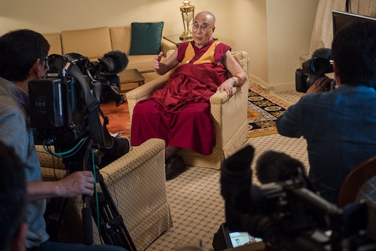 HIs Holiness the Dalai Lama speaking to NHK's Mr Makato Oda and Mr Eisuke Takahashi, 9 May 2016. (Photo/ Tenzin Choejor/OHHDL)