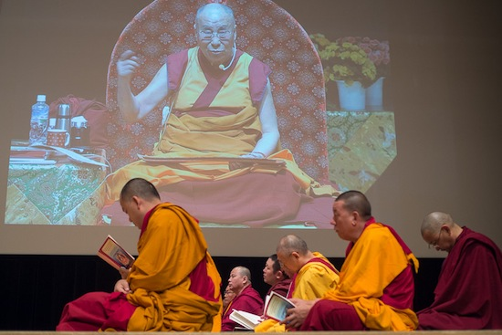 A view of the large screens on the stage at the Osaka International Convention Center, venue for His Holiness the Dalai Lama's teachings in Osaka, Japan on May 11, 2016. Photo/Tenzin Choejor/OHHDL