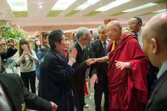 Devotees and old friends greeting His Holiness the Dalai Lama at Osaka, 9 May 2016. Photo/Tenzin Choejor/OHHDL