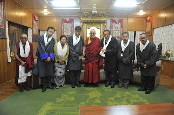 His Holiness the Dalai Lama with members of the outgoing 14th Kashag and Kashag secretary Ven Karma Gelek Yuthok. from left: Ven Karma Gelek yuthok,