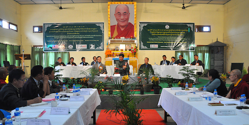 From left: Health Kalon Dr Tsering Wangchuk, Sikyong Dr Lobsang Sangay and health secretary Mr Chime Rigzin at the inaugural sesison of the three-day special meeting on Tibetan healthcare.