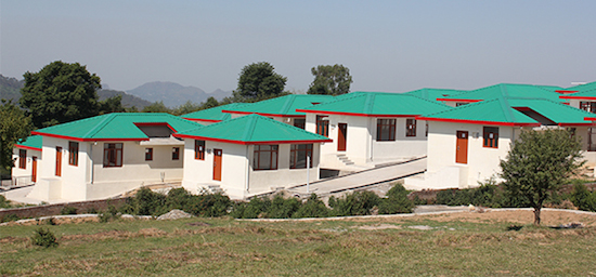 Houses built by the Central Tibetan Administration for newly arrived Tibetans at Lily village in Bir, Himachal Pradesh.
