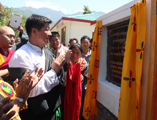 Sikyong dr Lobsang Sangay inaugurating the new lily Tibetan village for newly arrived Tibetans at BIr, Himachal Pradesh, 17 May 2016.