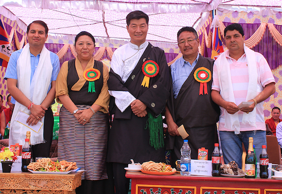 Sikyong Dr Lobsang Sangay, Home Kalon Dolma Gyari and Home Secretary Sonam Topgyal Khorlatsang with Indian dignitaries at the inauguration of the new Tibetan village.