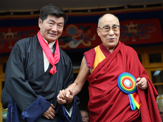 Sikyong Dr loobsang Sangay with His Holiness the Dalai Lamaat the swearing-in ceremony, 27 May 2016.