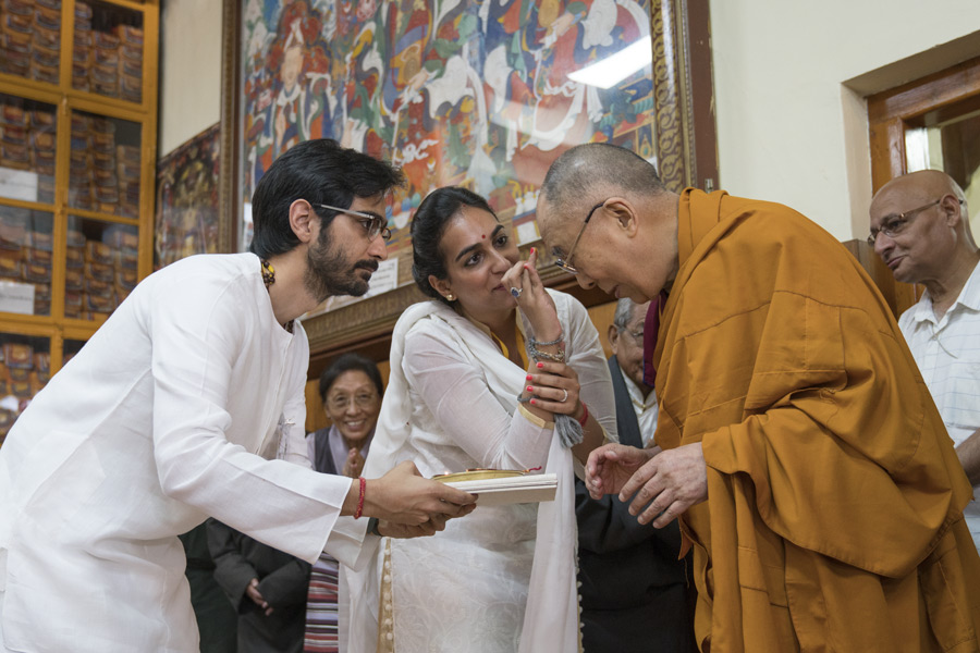 His Holiness the Dalai Lama receiving traditional Indian offerings on his arrival at the Main Tibetan Temple at the start of a three day teaching for Indian Buddhists in Dharamsala, HP, India on June 7, 2016. Photo/Tenzin Choejor/OHHDL