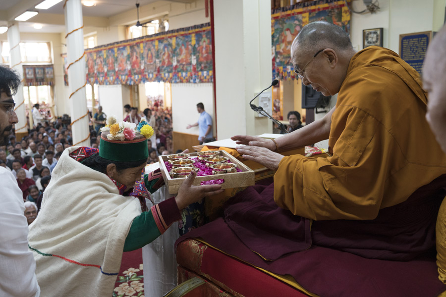 Indian Buddhists from the Himalayan region making traditional offerings at the start of the first day of His Holiness the Dalai Lama's three day teaching for Indian Buddhists at the Main Tibetan Temple in Dharamsala, HP, India on June 7, 2016. Photo/Tenzin Choejor/OHHDL