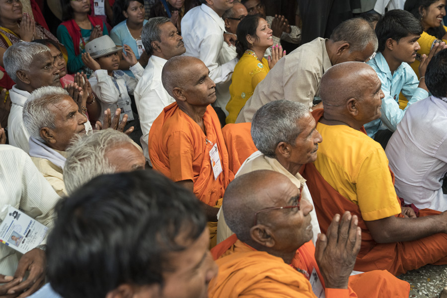 Members of the audience listening to His Holiness the Dalai Lama during the first day of his three day teaching for Indian Buddhists at the Main Tibetan Temple in Dharamsala, HP, India on June 7, 2016. Photo/Tenzin Choejor/OHHDL