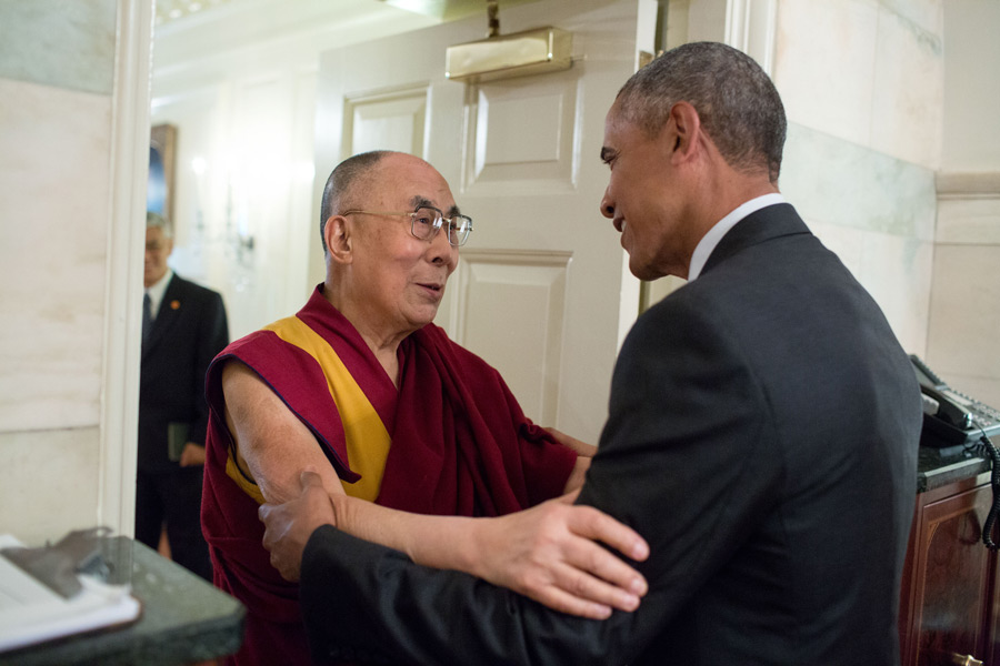 President Barack Obama greets His Holiness the Dalai Lama at the entrance of the Map Room of the White House on June 15, 2016. Official White House Photo by Pete Souza