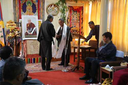 The Chief Justice Commissioner Mr Kargyu Dhondup with Education Kalon Mr Ngodup Tsering at the swearing in ceremony, 13 July 2016.