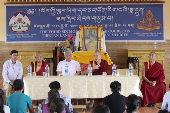 The inaugural session of the thrid six-month intensive course on Tibetan language and Buddhist studies on 1 July at Gyudmed monastery, Hunsur.