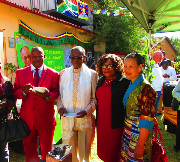 Representative Nangsa Chodon with Prince Buthelezi and Tibet supporters at the celebration of the 81st birth anniversary of His Holiness the Dalai Lama, 9 July 2016.