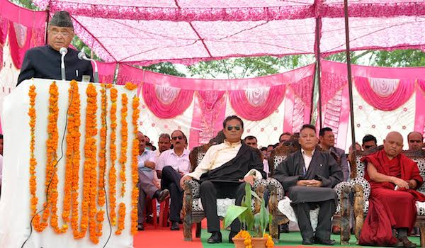 Finance Kalon Mr Karma Yeshi, Health Kalon Mr Choekyong Wangchuk, Deputy Speaker of Tibetan Parliament Acharya Yeshi Phuntsok at the official celebration of 70th Independence day of India, organised by local Indian representatives at the Police ground, lower Dharamshala, 15 August 2016.
