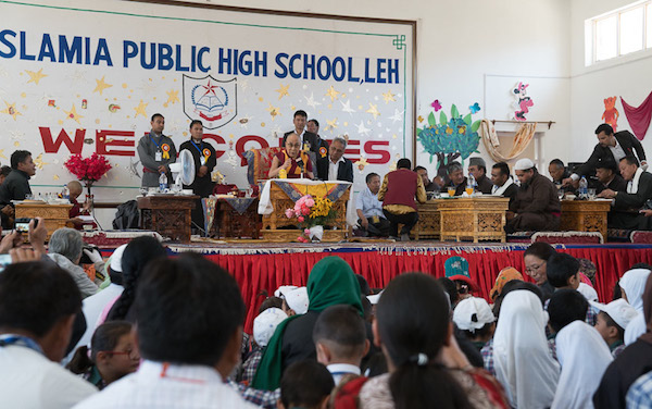 His Holiness the Dalai Lama answering questions from the audience during his talk at Islamia Public School in Leh, Ladakh, J&K, India on August 17, 2016. Photo/Tenzin Choejor/OHHDL