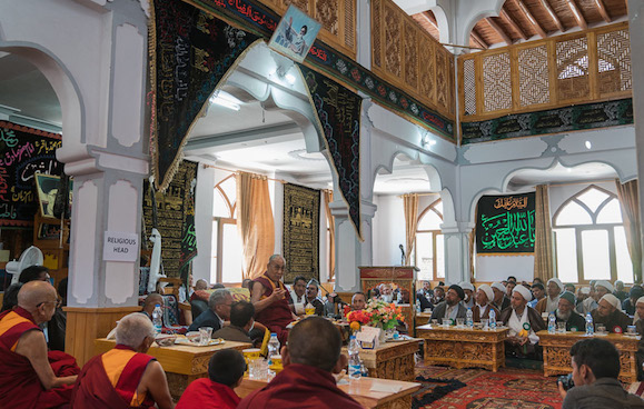 His Holiness the Dalai Lama speaking at Imambargah Chuchot Gongma in Leh, Ladakh, J&K, India on August 17, 2016. Photo/Tenzin Choejor/OHHDL