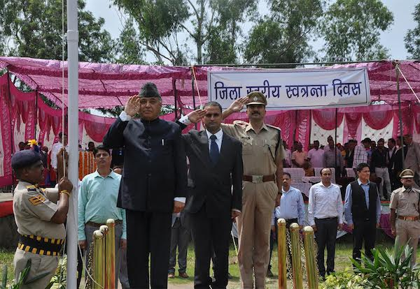 Chief guest Shri G S Bali, Technical Education and Transport Minister of Himachal Pradesh salutes the Indian national flag during the celebration of 70th anniversary of India's Independence day, 15 August 2016.