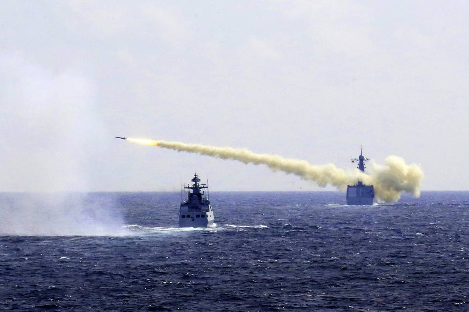 In a photo released on Aug. 1 by Xinhua News Agency, a missile is launched from a Chinese navy ship during a live ammunition drill in the East China Sea. Photo: WU DENGFENG/ASSOCIATED PRESS