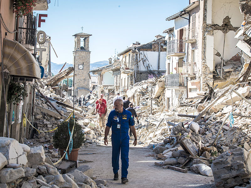 Extensive damage caused by the earthquake in central Italy.