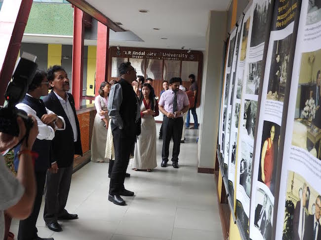 The Vice Chancellor and faculty of O P Jindal University touring the photo exhibition showcased by Tibet Museum on the 'life of His Holiness the Dalai Lama' and 'India-Tibet Relations.'