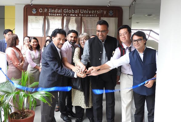 Chief guest Dr C Raj Kumar, Vice Chancellor, O P Jindal Global University inaugurating the photo exhibition, along with Deputy Secretary of Tibet Policy Institute Mr Sonam Tenzing and Deans of Jindal School of International Affairs, Jindal School of Liberal Arts and Humanities at the O P Jindal Global University on 29 August, 2016.