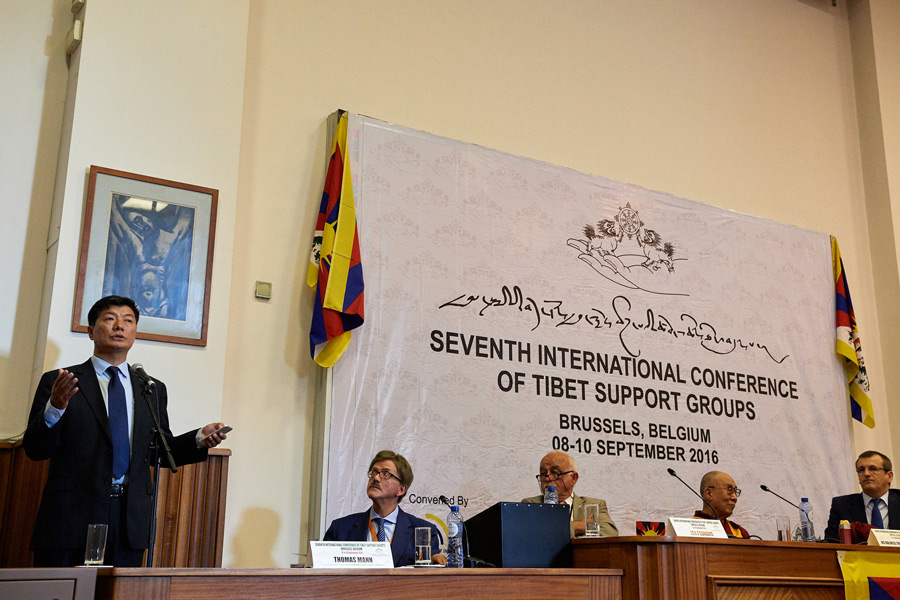 Sikyong Dr Lobsang Sangay speaking at the opening session of the Seventh International Conference of Tibet Support Groups in Brussels, Belgium on September 8, 2016. Photo/Olivier Adam