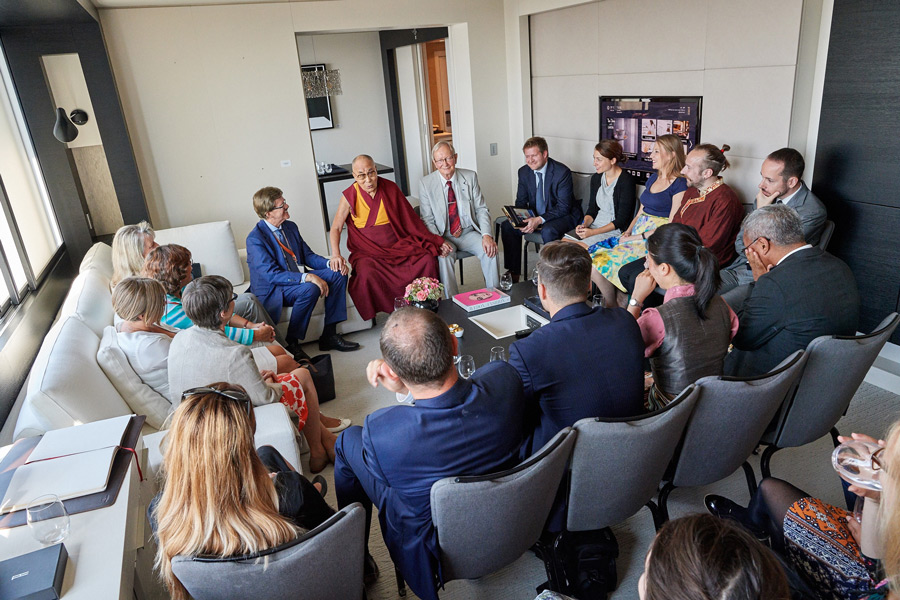 His Holiness the Dalai Lama meeting with the European Parliament's Tibet Interest Group members in Brussels, Belgium on September 8, 2016. Photo/Olivier Adam