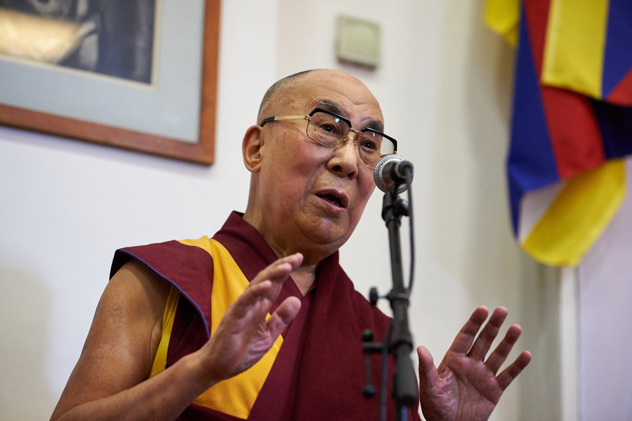 His Holiness the Dalai Lama addressing the opening session of the Seventh International Conference of Tibet Support Groups in Brussels, Belgium on September 8, 2016. Photo/Olivier Adam
