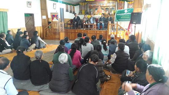 Home Kalon Sonam Topgyal Khorlatsang addressing the Tibetan public at Sonada.