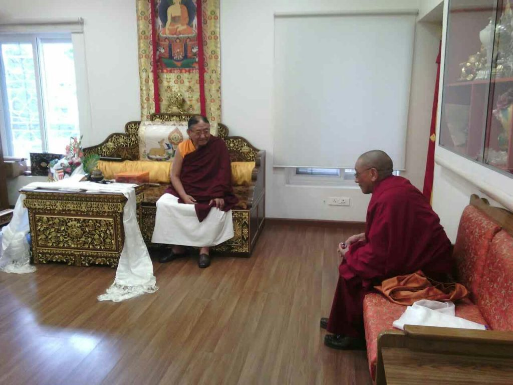 Kalon Karma Gelek Yuthok having an audience with His Eminence Sakya Trizin Rinpoche.