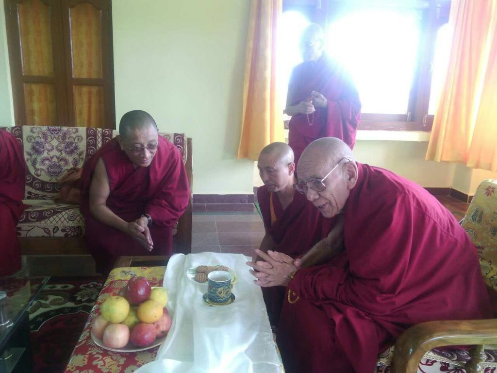 Kalon Karma gelek Yuhtok with His Eminence Gaden Tri Rinpoche at Mundgod.