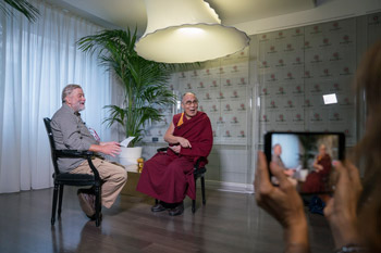 His Holiness the Dalai Lama and and Pio d'Emilia for SkyTG 24 enjoying a light moment before their interview in Milan, Italy on October 21, 2016. Photo/Tenzin Choejor/OHHDL