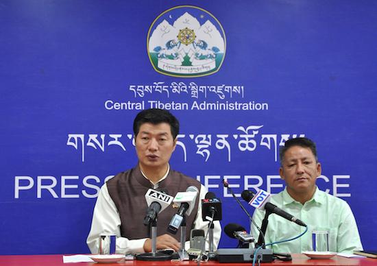 SIkyong Dr Lobsang Sangay and Finance Kalon Mr Karma Yeshi at the press conference on 3 October 2016.