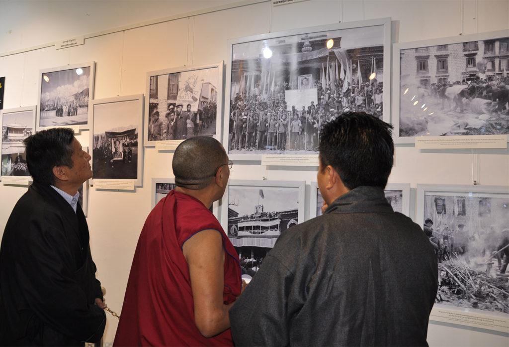 Mr Tashi Phuntsok, Director of Tibet Museum guiding Kalon Karma Gelek Yuthok, Department of Religion and Culture with Mr Sonam Norbu Dagpo, Secretary for Information Relations at Tibet Museum on 28 October 2016. Photo/Tenzin Phende/DIIR