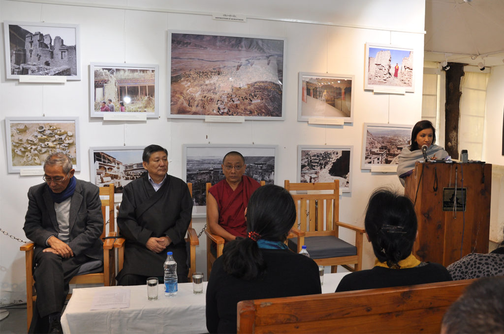 Ms Dhardon Sharling, Information Secretary of DIIR delivering speech at inauguration of photo-framed exhibition cum panel discussion titled 'Revisiting the Cultural Revolution in Tibet' at the Tibet Museum on 28 October 2016. Photo/Tenzin Phende/DIIR