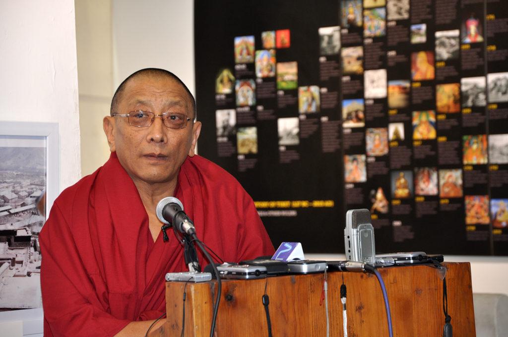Kalon Karma Gelek Yuthok delivering speech during inauguration of Tibet Museum