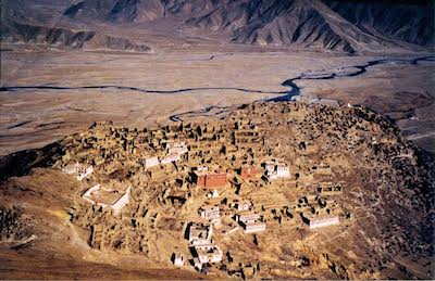 Ganden Monastery, one of the largest monasteries in Tibet, was home to more than 5000 monks before 1959. It was destroyed during the Cultural Revolution and now houses only around 500 monks.