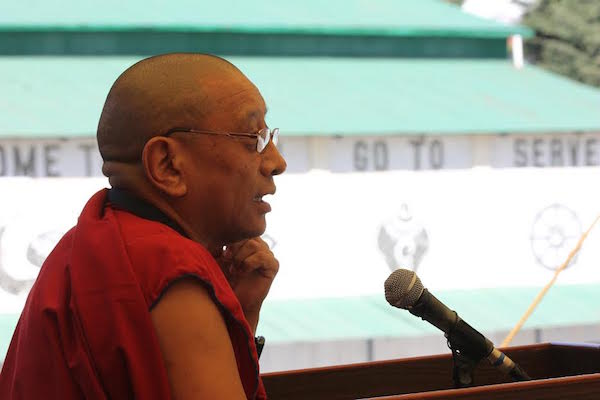 Kalon for Department of Religion and Culture Ven Karma Gelek Yuthok speaking at the 56th anniversary of Tibetan Children's Village, at Upper TCV School, 23 October 2016.