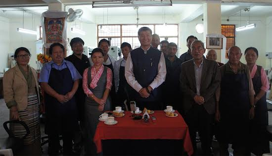 Sikyong Dr Lobsang Sangay with DIIR Secretaries and staff of Narthang Press.