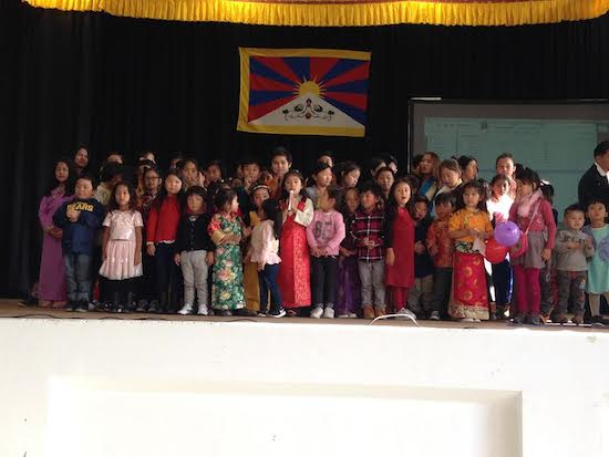 Students performing a Tibetan group song.