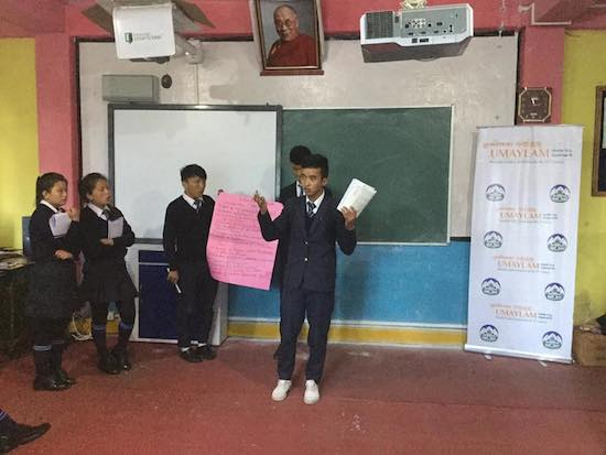 A student from CST Darjeeling doing a presentation on what Umaylam means for him.