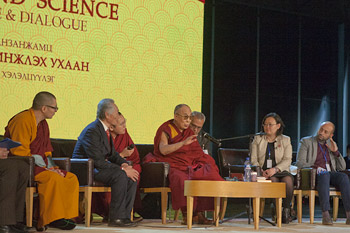 His Holiness the Dalai Lama speaking at the International Conference on Buddhism and Science in Ulaanbaatar, Mongolia on November 21, 2016. Photo/Igor Yanchoglov