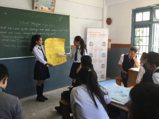 Students presenting a group activity on Umaylam at CST Kalimpong on 27 October 2016.