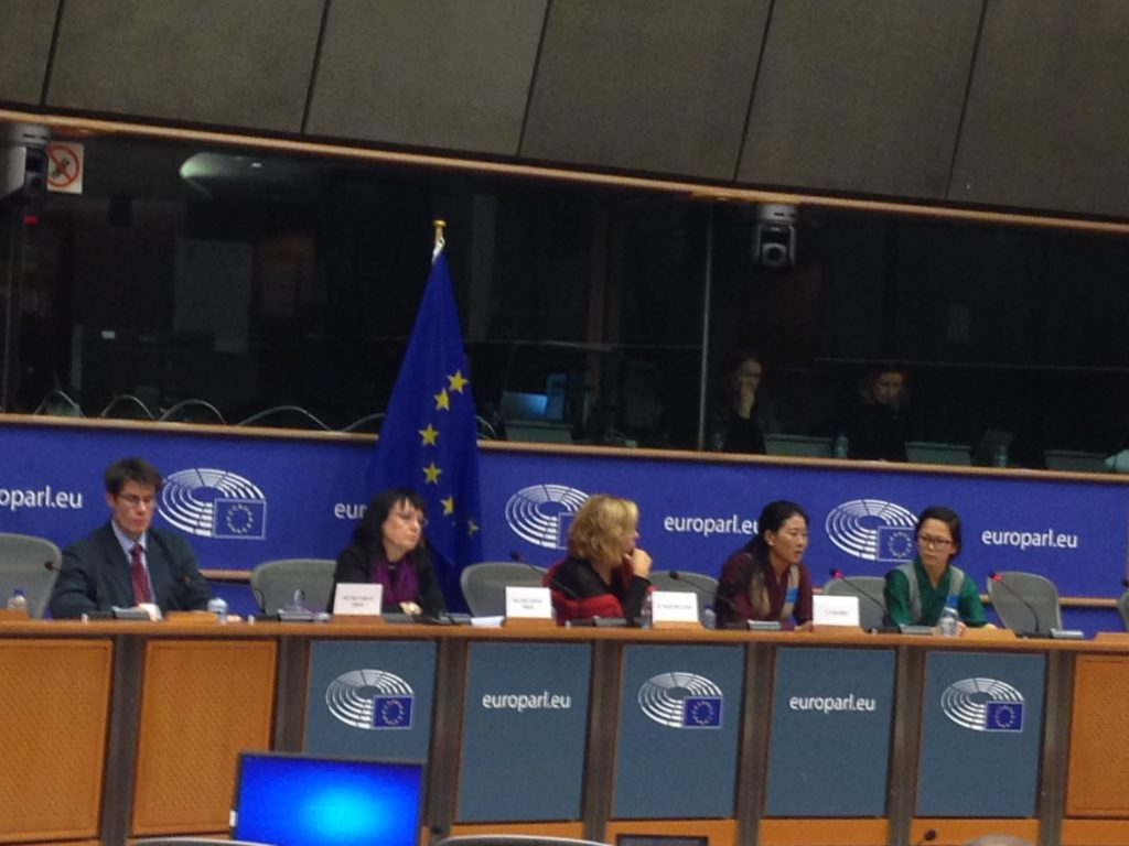 Tenzin Delek Rinpoche's niece Nyima Lhamo accompanied by Ms Tenzin Sonam, DIIR's Human Rights Officer at the European Parliament's subcommittee.