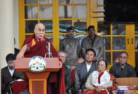 The Tibetan spiritual leader His Holiness the Dalai Lama speaking at the book release of Shri Shanta Kumar, former Himachal CM and current member of Indian parliament at Tsuglagkhang, 1 November 2016.