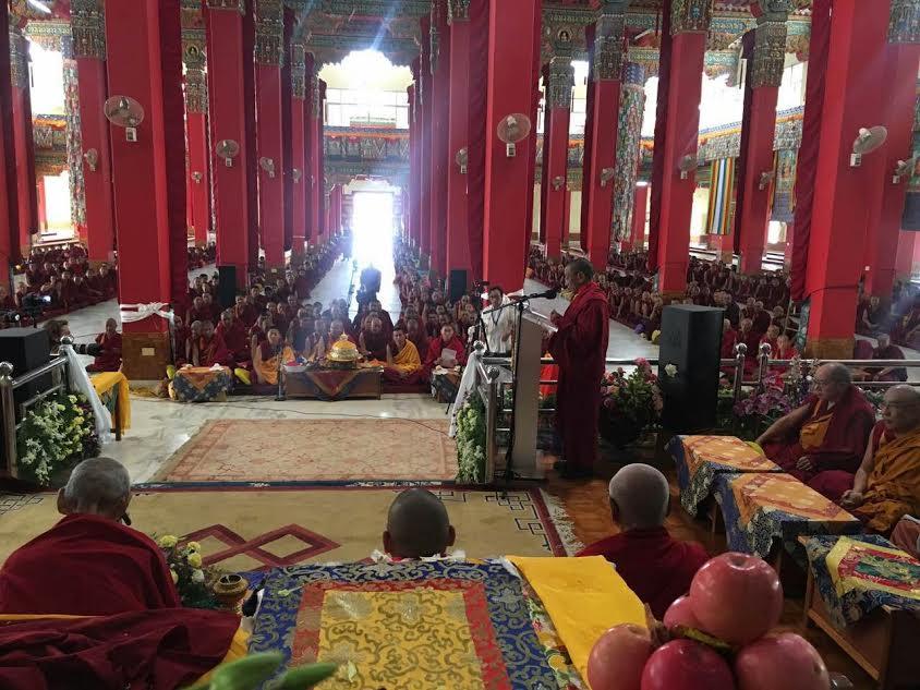 Kalon Karma Gelek Yuthok addressing the gathering.