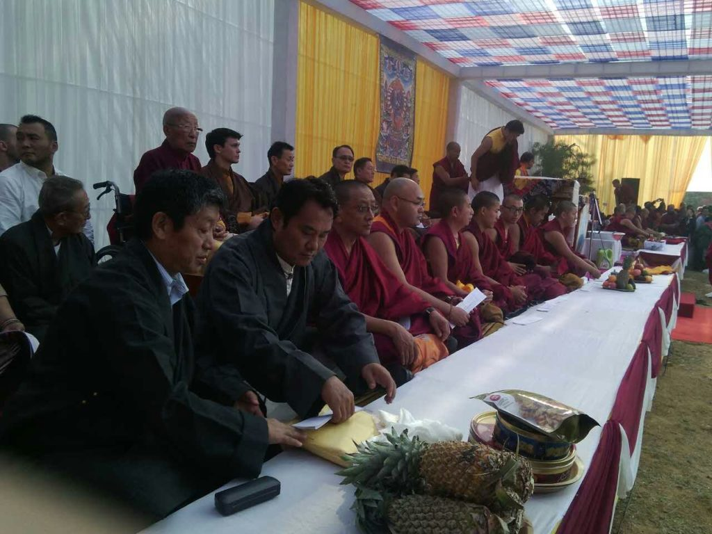 Speaker Khenpo Sonam Tenphel, Kalon Karma Gelek Yuthok, Kalon Choekyong Wangchuk and Representative Mr Dongchung Ngodup at the cremation ceremony, 11 November 2016.