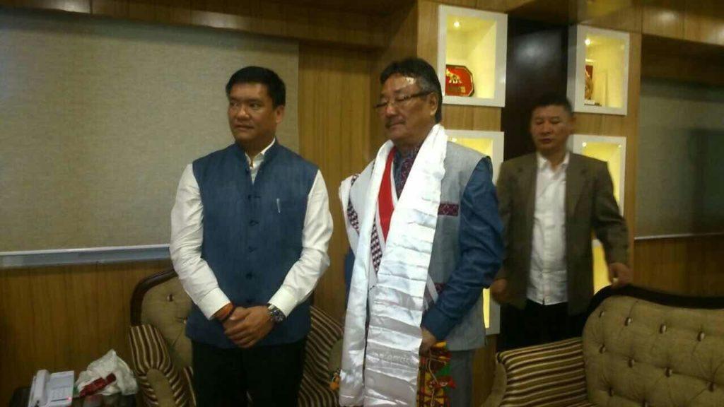 Home Kalon Sonam Topgyal Khorlatsang with Mr Pema Khandu, chief minister of Arunachal Pradesh, India.