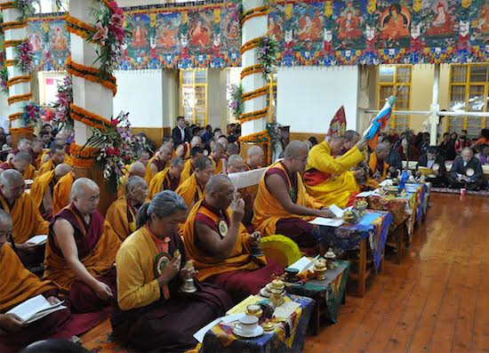 Religious leaders and monks reciting prayers during the long life prayer offering for His Holiness the Dalai Lama at Tsuglagkhang, 2 November 2016.