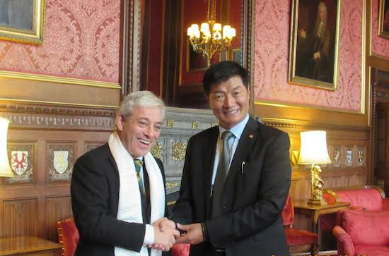 Sikyong Dr Lobsang Sangay with Rt. Hon Speaker of the House of Commons, John Bercow at the Parliament House, 1 November 2016.